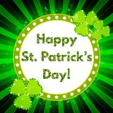 Saint Patricks Day banner with shining Shamrock Royalty Free Stock Photos