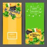 Saint Patricks Day banners. Flag Ireland, pot of gold coins, shamrocks, green hat and horseshoe Stock Photography