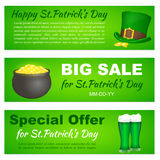 Saint Patricks Day banners with Leprechaun hat, pot and beer for greeting card, ad, promotion, poster, flier, blog, web. Saint Patricks Day banners with royalty free illustration