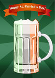 Saint Patricks Day beer mug in colors of Irish f. Beer mug in colors of an Irish flag with a ribbon for Saint Patricks Day Vector Illustration