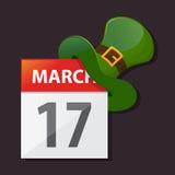 Saint Patricks Day Calendar With Green Hat Royalty Free Stock Photo