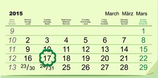 Saint Patricks Day. Calendar March 17 Royalty Free Stock Photos