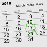Saint Patricks Day. Calendar 2016 March 17. Illustration in vector format Stock Photos