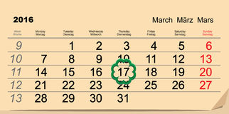 Saint Patricks Day. Calendar 2016 March 17. Illustration in vector format Royalty Free Stock Image