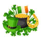 Saint Patricks Day card. Flag Ireland, pot of gold coins, shamrocks, green hat and horseshoe Royalty Free Stock Photo