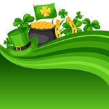 Saint Patricks Day card. Flag, pot of gold coins, shamrocks, green hat and horseshoe Royalty Free Stock Images