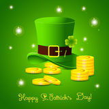 Saint Patricks Day card with leprechaun hat, lucky Stock Image