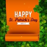 Saint Patricks Day card, ribbon on shamrock leaves Royalty Free Stock Photography
