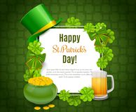 Saint Patricks Day Card with Treasure of Leprechaun, Green Hat on orange Background. Royalty Free Stock Images