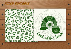 Saint Patricks Day card on wooden table. Royalty Free Stock Images