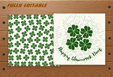 Saint Patricks Day card on wooden table. Stock Images