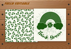 Saint Patricks Day card on wooden table. Royalty Free Stock Photos