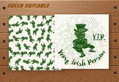Saint Patricks Day card on wooden table. Stock Photos
