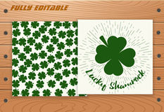Saint Patricks Day card on wooden table. Royalty Free Stock Photo