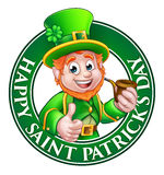 Saint Patricks Day Cartoon Leprechaun Sign. Cartoon Leprechaun character in a circle reading happy St Patricks Day giving a thumbs up and holding a pipe Stock Image