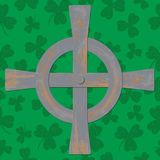 Saint Patricks Day. Celtic cross. Green background Royalty Free Stock Images