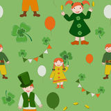 Saint Patricks Day cute kids pattern. Seamless pattern with cute children and various symbols of Saint Patricks Day Stock Photos