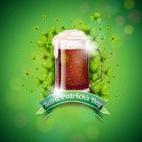 Saint Patricks Day Design with Fresh Dark Beer and Falling Clovers Leaf on Green Background. Irish Holiday Vector Stock Photo