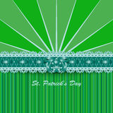 Saint Patricks Day design with lacy green ribbon and bow. Royalty Free Stock Photo