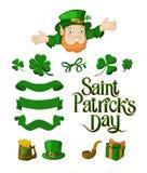 Saint Patricks Day designer cartoon elements set Vector illustration stock illustration