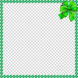 Saint Patricks Day elegant border with shamrocks, ribbon Stock Image