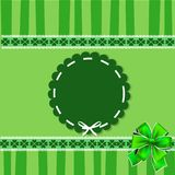 Saint Patricks Day elegant template with shamrocks lace stamp. Saint Patricks Day elegant template with shamrocks lace, round wavy stamp with white ribbon Stock Photos
