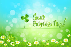 Saint Patricks Day with Flowers and Shamrock Stock Images