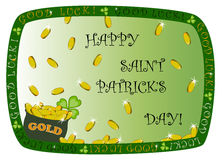 Saint Patricks Day frame with pot of gold. Saint Patricks Day themed border with pot of gold and falling coins Royalty Free Stock Images