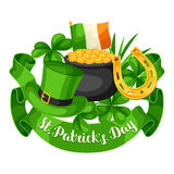Saint Patricks Day greeting card. Flag Ireland, pot of gold coins, shamrocks, green hat and horseshoe Royalty Free Stock Images