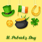 Saint Patricks Day greeting card. Flag Ireland, pot of gold coins, shamrocks, green hat and horseshoe Stock Photography