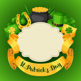 Saint Patricks Day greeting card. Flag, pot of gold coins, shamrocks, green hat and horseshoe Royalty Free Stock Images