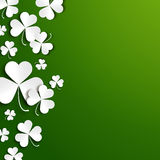 Saint Patricks day greeting card, realistic paper shamrock leaves Royalty Free Stock Photos