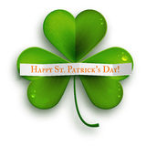 Saint Patricks Day greeting card, realistic shamrock leaf isolated on white Royalty Free Stock Image