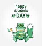 Saint patricks day greeting with drunk leprechaun Royalty Free Stock Photos