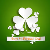 Saint Patricks day greeting vector card, paper shamrock leaves Royalty Free Stock Images