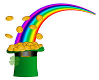 Saint Patricks Day Hat of Gold with Rainbow Royalty Free Stock Image