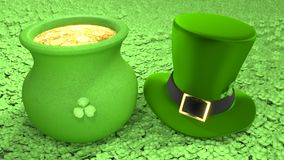 Saint Patricks Day hat and pot of coins Royalty Free Stock Images