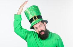Saint patricks day holiday. Green color part of celebration. Myth of leprechaun. Happy patricks day. Global celebration. Of irish culture. Man bearded hipster royalty free stock photography