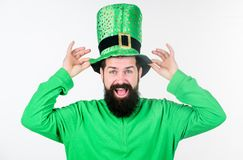 Saint patricks day holiday. Green color part of celebration. Myth of leprechaun. Happy patricks day. Man bearded hipster. Wear green clothing and hat patricks stock images