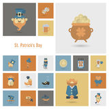 Saint Patricks Day Icon Set Stock Photos