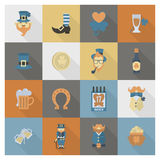 Saint Patricks Day Icon Set. Vector. Clean Work Minimum Points Royalty Free Stock Photography