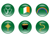 Saint Patricks Day icons. Saint Patrick day glassy button icons Royalty Free Stock Photo
