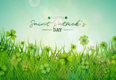 Saint Patricks Day Illustration with Green Clovers Field on Blue Sky Background. Irish Lucky Holiday Vector Design for. Greeting Card, Party Invitation or Promo Royalty Free Stock Photo