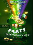 Saint Patricks Day Invitation Card Design. With Leprechaun hat filled up with gold on Blurred Green Background and Rainbow Happy St Patricks Day. Vector Stock Images