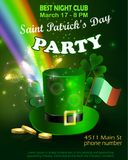 Saint Patricks Day Invitation Card Design. Saint Patricks Day Invitation Party Card Design with Leprechaun hat with gold on Blurred Green Background and Rainbow Stock Images