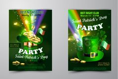 Saint Patricks Day Invitation Card Design. Saint Patricks Day Invitation set Party Card Design with Leprechaun hat with gold on Blurred Green Background and Stock Images