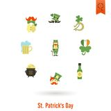 Saint Patricks Day Isolated Icon Set Stock Photos