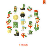 Saint Patricks Day Isolated Icon Set Stock Image