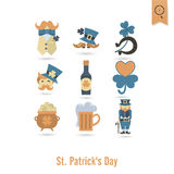 Saint Patricks Day Isolated Icon Set Stock Photos