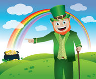 Saint Patricks Day Leprechaun. A leprechaun leading you to his pot of gold at the end of the rainbow stock illustration